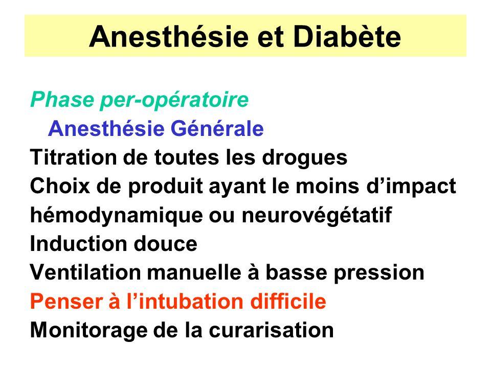 Anesthésie et Diabète Phase per-opératoire Anesthésie Générale Titration de toutes les drogues Choix de produit ayant le moins dimpact hémodynamique o