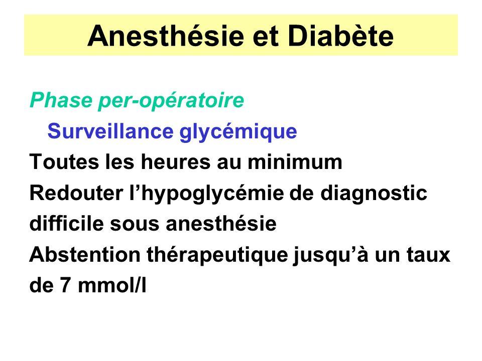 Anesthésie et Diabète Phase per-opératoire Surveillance glycémique Toutes les heures au minimum Redouter lhypoglycémie de diagnostic difficile sous an