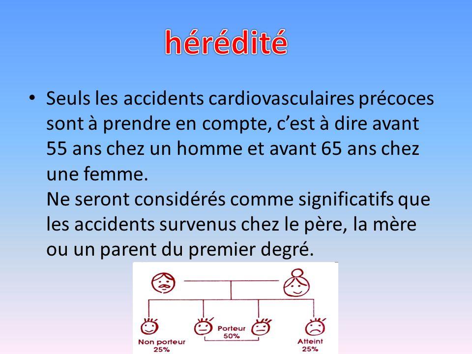 Seuls les accidents cardiovasculaires précoces sont à prendre en compte, cest à dire avant 55 ans chez un homme et avant 65 ans chez une femme.