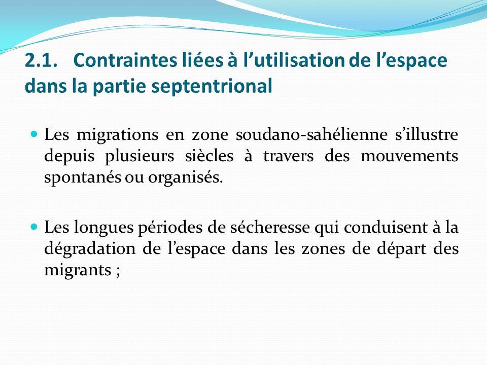 2.1.Contraintes liées à lutilisation de lespace dans la partie septentrional Les migrations en zone soudano-sahélienne sillustre depuis plusieurs siècles à travers des mouvements spontanés ou organisés.