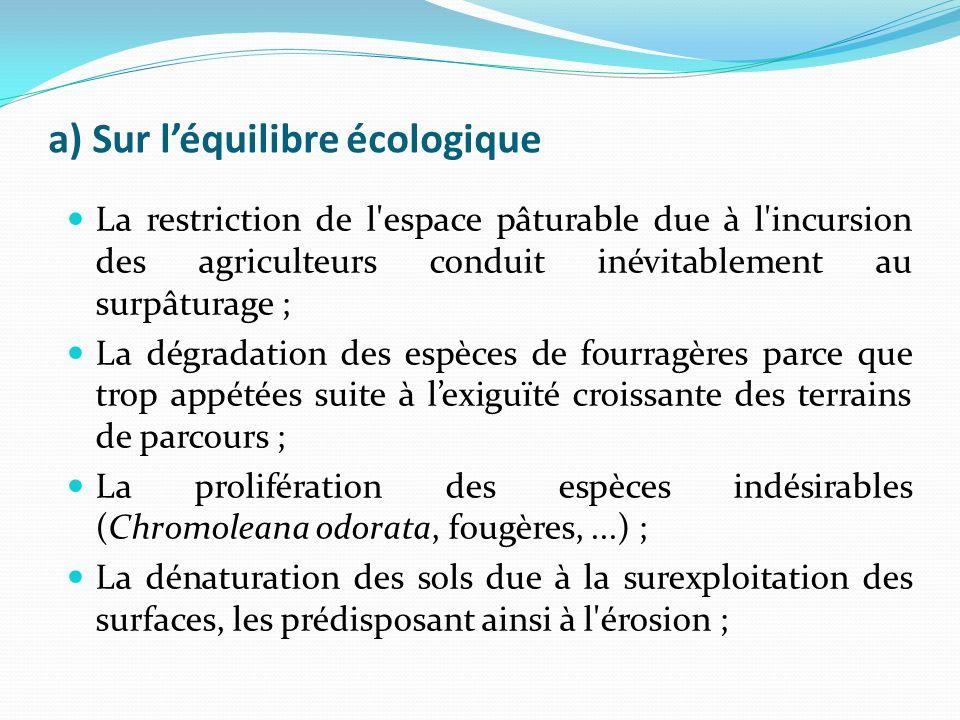 a) Sur léquilibre écologique La restriction de l espace pâturable due à l incursion des agriculteurs conduit inévitablement au surpâturage ; La dégradation des espèces de fourragères parce que trop appétées suite à lexiguïté croissante des terrains de parcours ; La prolifération des espèces indésirables (Chromoleana odorata, fougères,...) ; La dénaturation des sols due à la surexploitation des surfaces, les prédisposant ainsi à l érosion ;