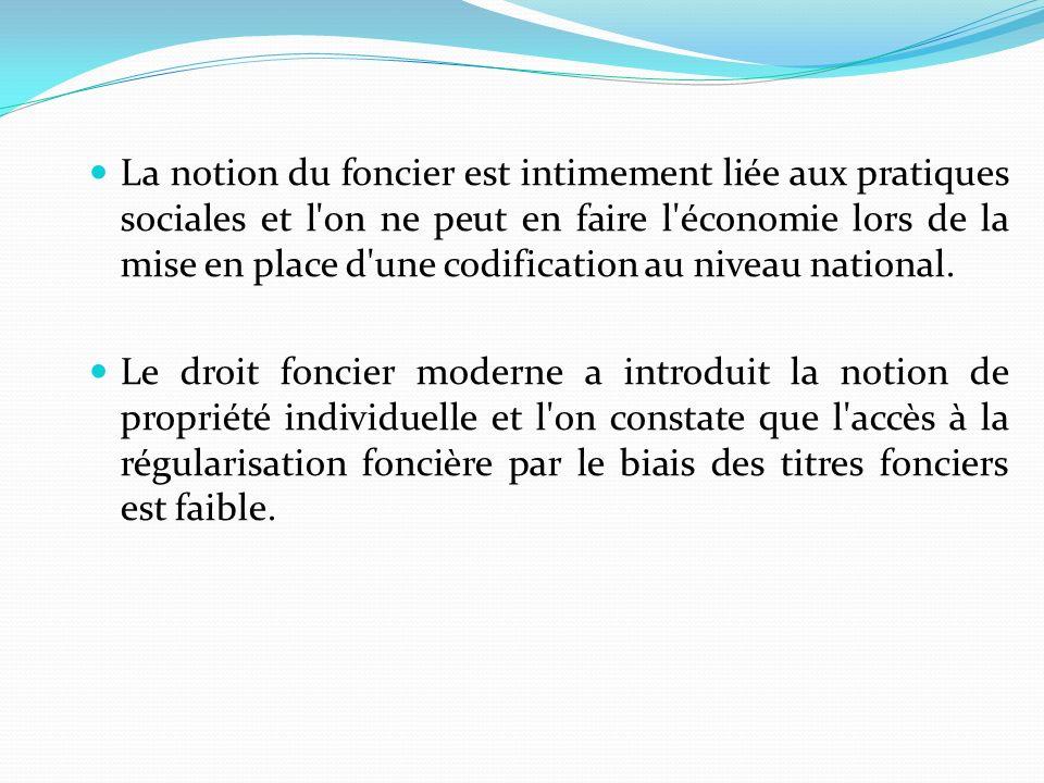 La notion du foncier est intimement liée aux pratiques sociales et l on ne peut en faire l économie lors de la mise en place d une codification au niveau national.