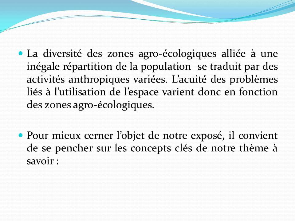 La diversité des zones agro-écologiques alliée à une inégale répartition de la population se traduit par des activités anthropiques variées.