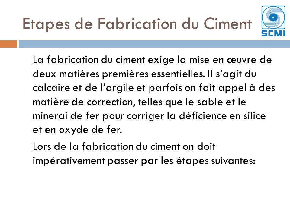 Etapes de Fabrication du Ciment La fabrication du ciment exige la mise en œuvre de deux matières premières essentielles.