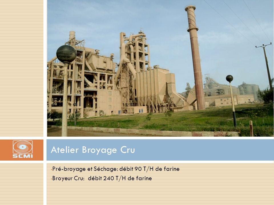 Pré-broyage et Séchage: débit 90 T/H de farine Broyeur Cru: débit 240 T/H de farine Atelier Broyage Cru