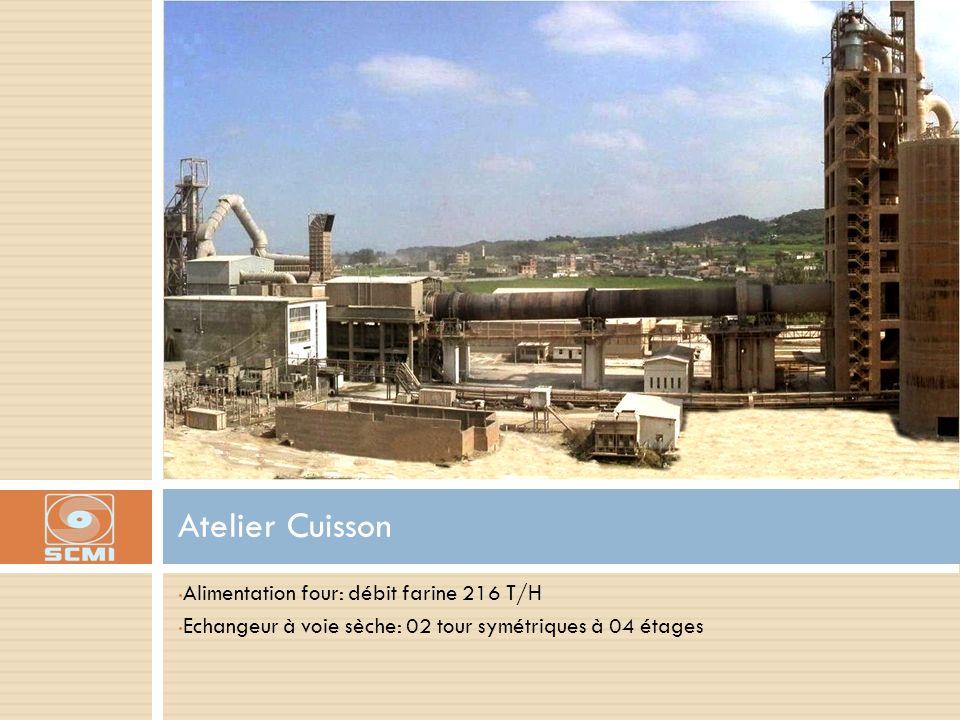 Alimentation four: débit farine 216 T/H Echangeur à voie sèche: 02 tour symétriques à 04 étages Atelier Cuisson