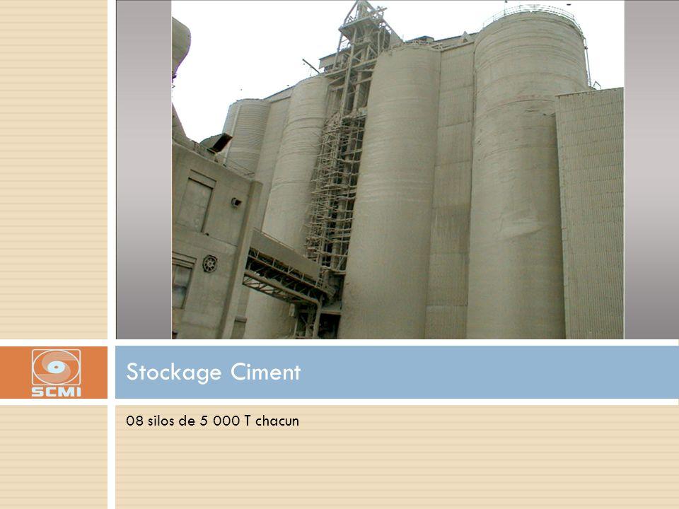 08 silos de 5 000 T chacun Stockage Ciment