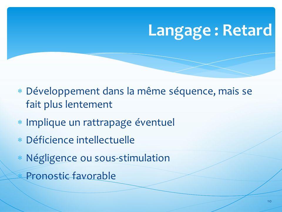 Langage : Retard Développement dans la même séquence, mais se fait plus lentement Implique un rattrapage éventuel Déficience intellectuelle Négligence