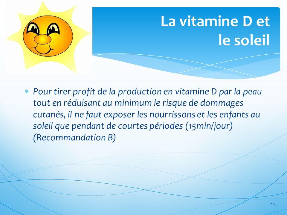 La vitamine D et le soleil 105 Pour tirer profit de la production en vitamine D par la peau tout en réduisant au minimum le risque de dommages cutanés