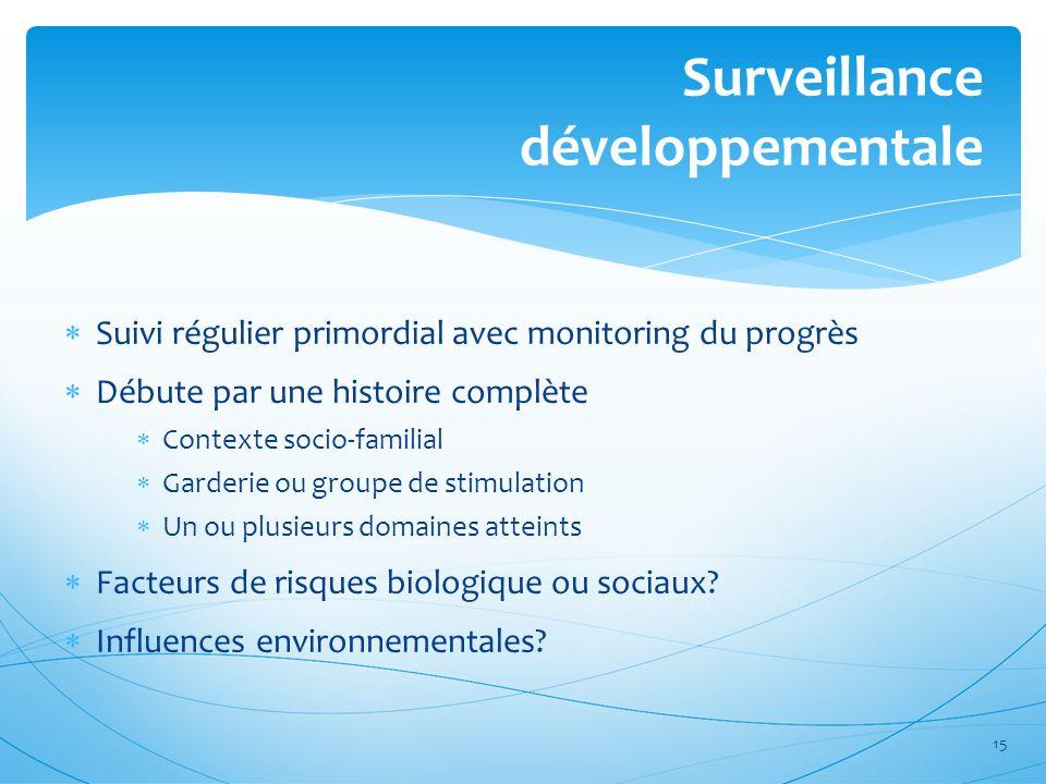 Surveillance développementale Suivi régulier primordial avec monitoring du progrès Débute par une histoire complète Contexte socio-familial Garderie o
