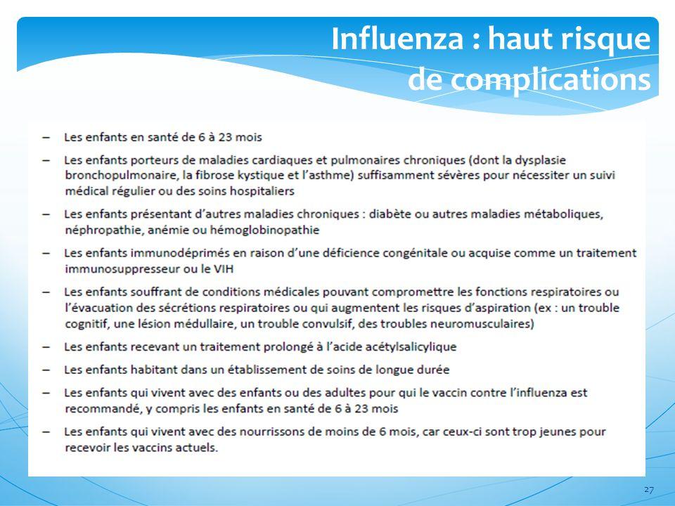 Influenza : haut risque de complications 27