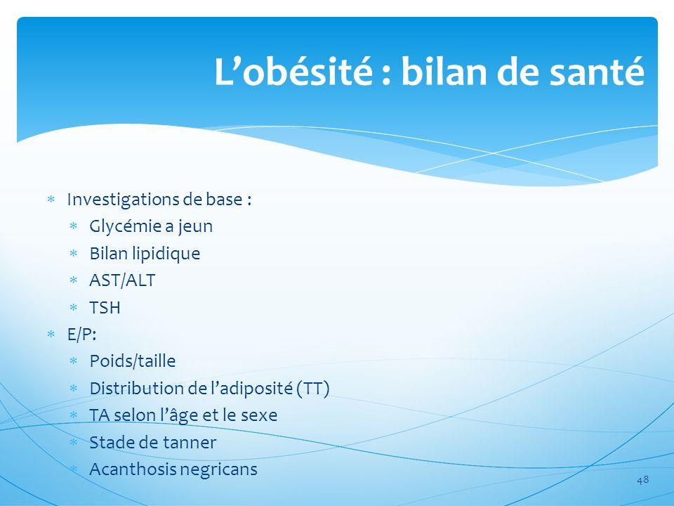 Lobésité : bilan de santé Investigations de base : Glycémie a jeun Bilan lipidique AST/ALT TSH E/P: Poids/taille Distribution de ladiposité (TT) TA se