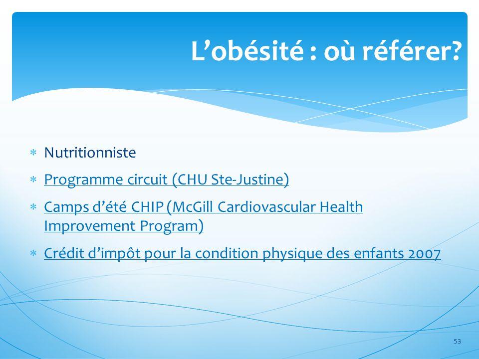 Lobésité : où référer? Nutritionniste Programme circuit (CHU Ste-Justine) Camps dété CHIP (McGill Cardiovascular Health Improvement Program) Camps dét