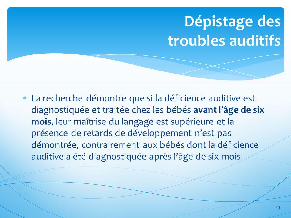 Dépistage des troubles auditifs La recherche démontre que si la déficience auditive est diagnostiquée et traitée chez les bébés avant lâge de six mois