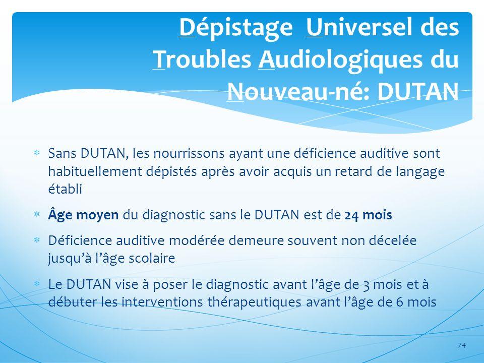 Dépistage Universel des Troubles Audiologiques du Nouveau-né: DUTAN Sans DUTAN, les nourrissons ayant une déficience auditive sont habituellement dépi