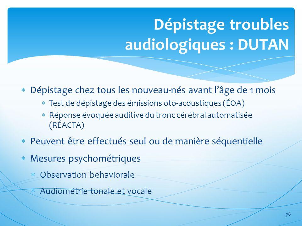 Dépistage troubles audiologiques : DUTAN Dépistage chez tous les nouveau-nés avant lâge de 1 mois Test de dépistage des émissions oto-acoustiques (ÉOA