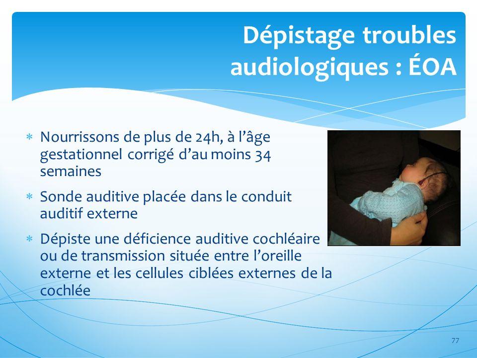 Dépistage troubles audiologiques : ÉOA Nourrissons de plus de 24h, à lâge gestationnel corrigé dau moins 34 semaines Sonde auditive placée dans le con