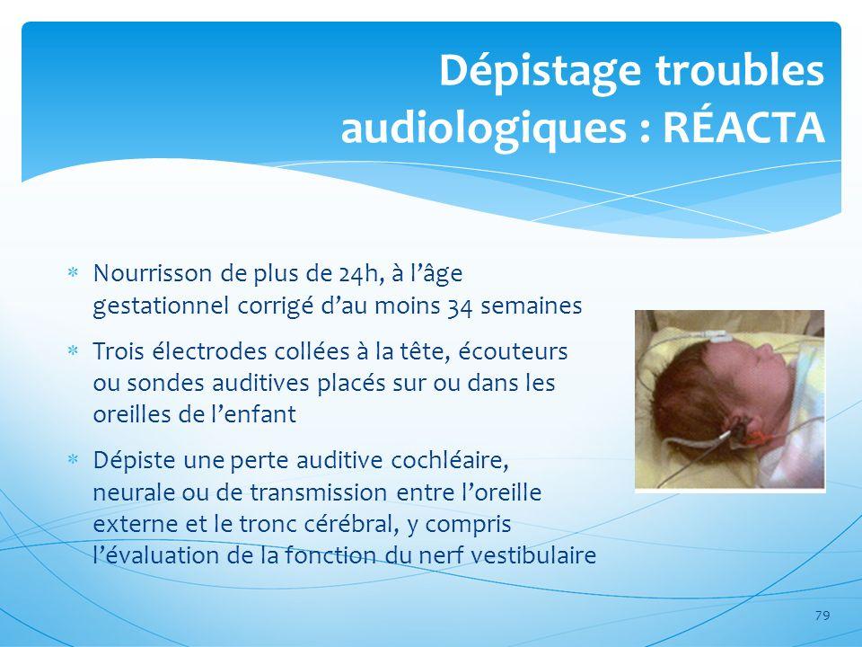 Dépistage troubles audiologiques : RÉACTA Nourrisson de plus de 24h, à lâge gestationnel corrigé dau moins 34 semaines Trois électrodes collées à la t