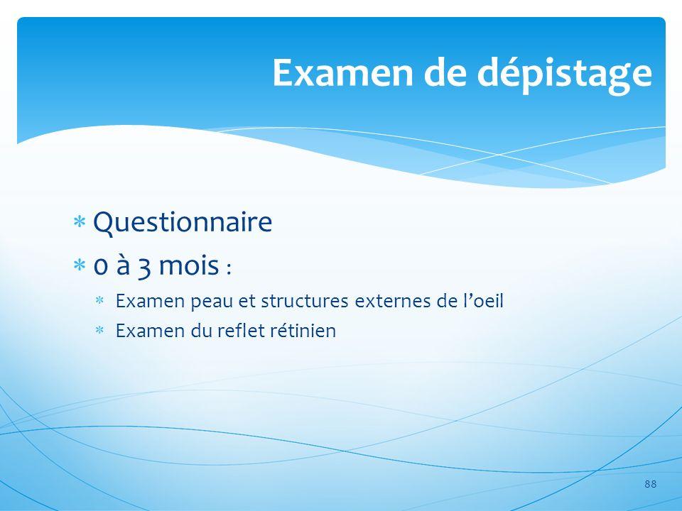 Examen de dépistage Questionnaire 0 à 3 mois : Examen peau et structures externes de loeil Examen du reflet rétinien 88