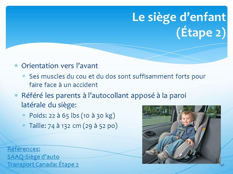 Le siège denfant (Étape 2) Orientation vers lavant Ses muscles du cou et du dos sont suffisamment forts pour faire face à un accident Référé les paren