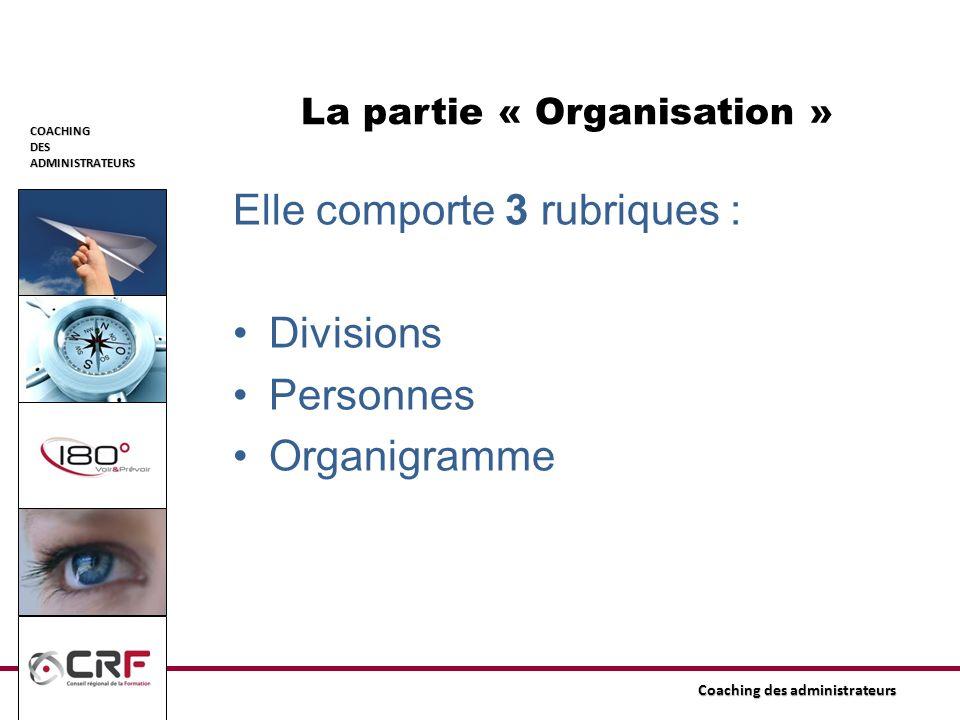 COACHINGDESADMINISTRATEURS Coaching des administrateurs Elle comporte 3 rubriques : Divisions Personnes Organigramme La partie « Organisation »
