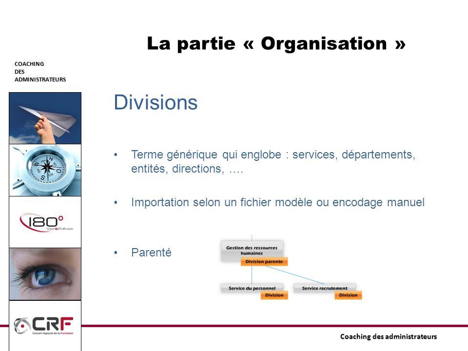 COACHINGDESADMINISTRATEURS Coaching des administrateurs La partie « Organisation » Divisions Terme générique qui englobe : services, départements, ent