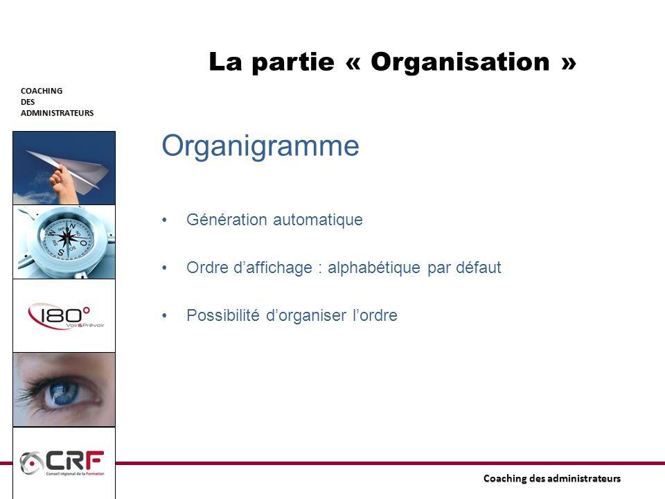 COACHINGDESADMINISTRATEURS Coaching des administrateurs La partie « Organisation » Organigramme Génération automatique Ordre daffichage : alphabétique
