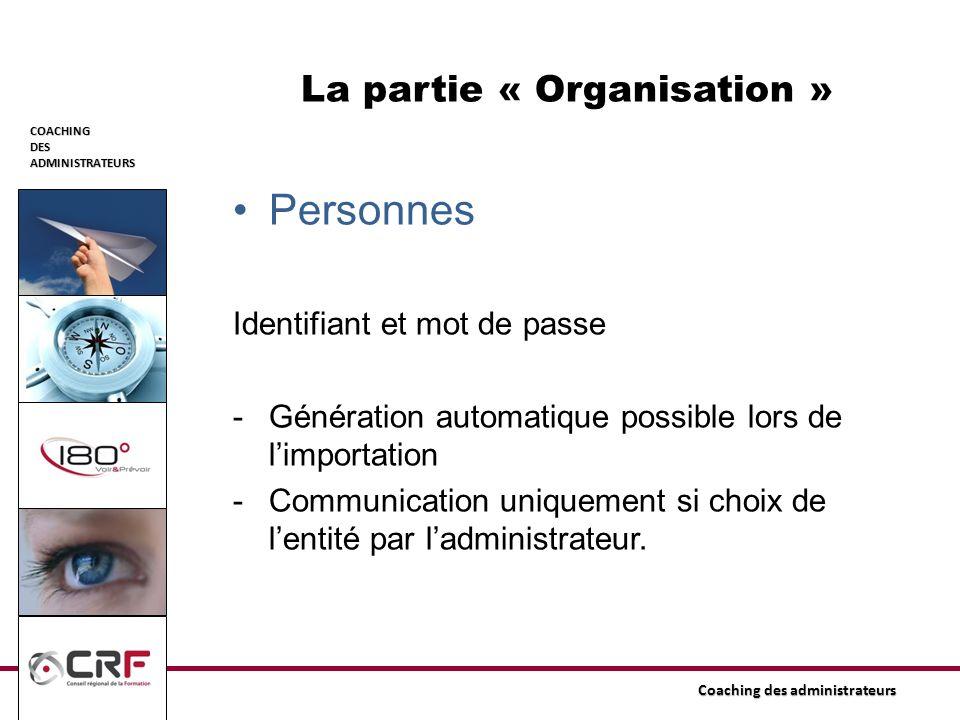 COACHINGDESADMINISTRATEURS Coaching des administrateurs La partie « Organisation » Personnes Identifiant et mot de passe -Génération automatique possi