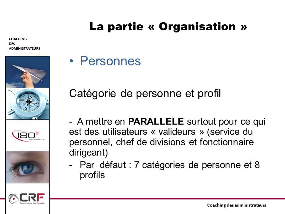 COACHINGDESADMINISTRATEURS Coaching des administrateurs La partie « Organisation » Personnes Catégorie de personne et profil - A mettre en PARALLELE s