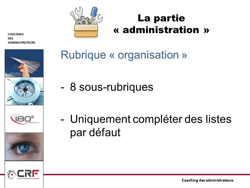 COACHINGDESADMINISTRATEURS Coaching des administrateurs La partie « administration » Rubrique « organisation » -8 sous-rubriques -Uniquement compléter