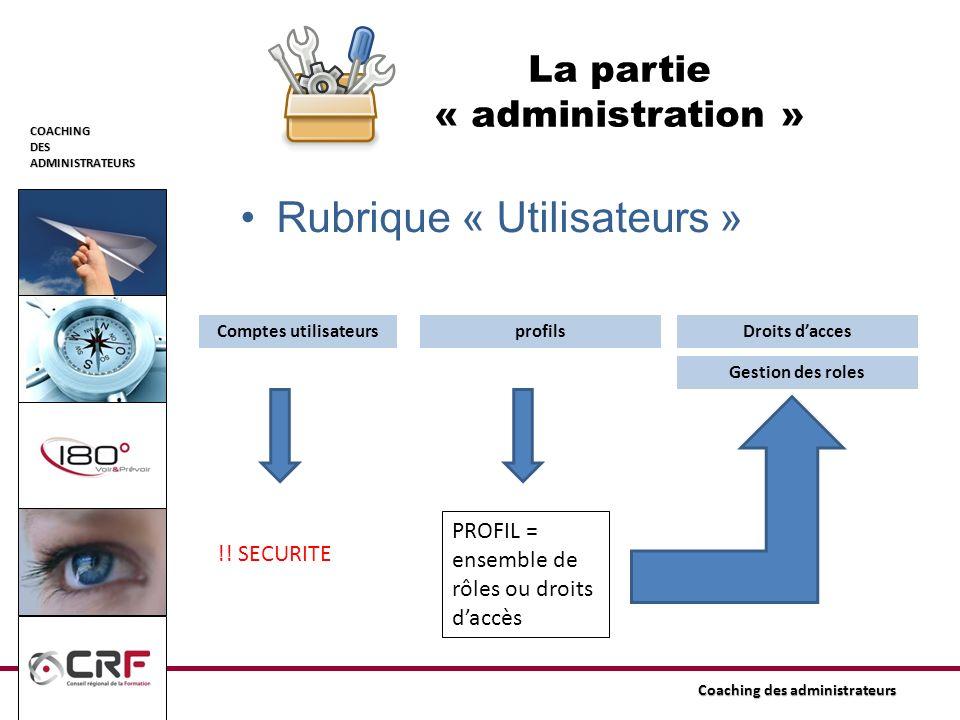 COACHINGDESADMINISTRATEURS Coaching des administrateurs La partie « administration » Rubrique « Utilisateurs » Comptes utilisateurs Gestion des roles