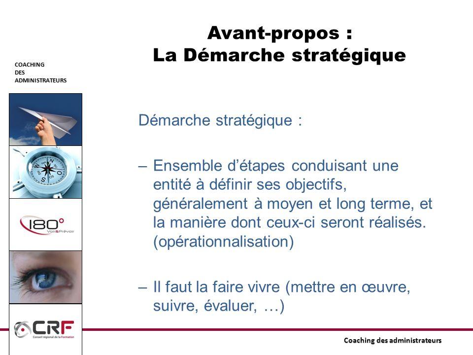 COACHINGDESADMINISTRATEURS Coaching des administrateurs Avant-propos : La Démarche stratégique Démarche stratégique : –Ensemble détapes conduisant une