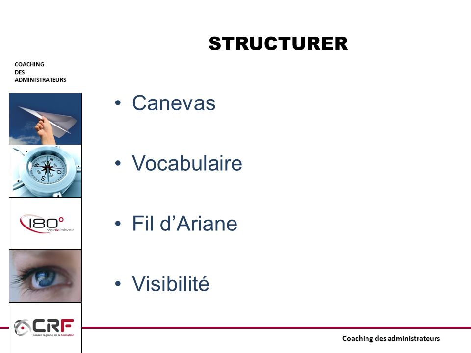 COACHINGDESADMINISTRATEURS Coaching des administrateurs STRUCTURER Canevas Vocabulaire Fil dAriane Visibilité