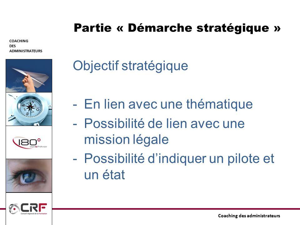 COACHINGDESADMINISTRATEURS Coaching des administrateurs Partie « Démarche stratégique » Objectif stratégique -En lien avec une thématique -Possibilité