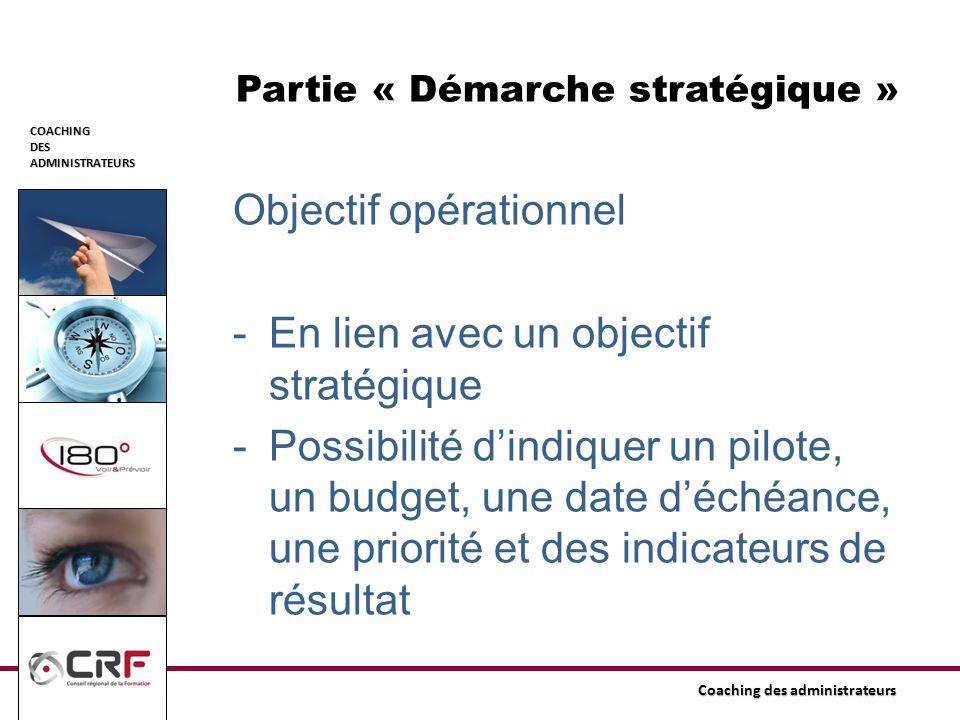 COACHINGDESADMINISTRATEURS Coaching des administrateurs Partie « Démarche stratégique » Objectif opérationnel -En lien avec un objectif stratégique -P