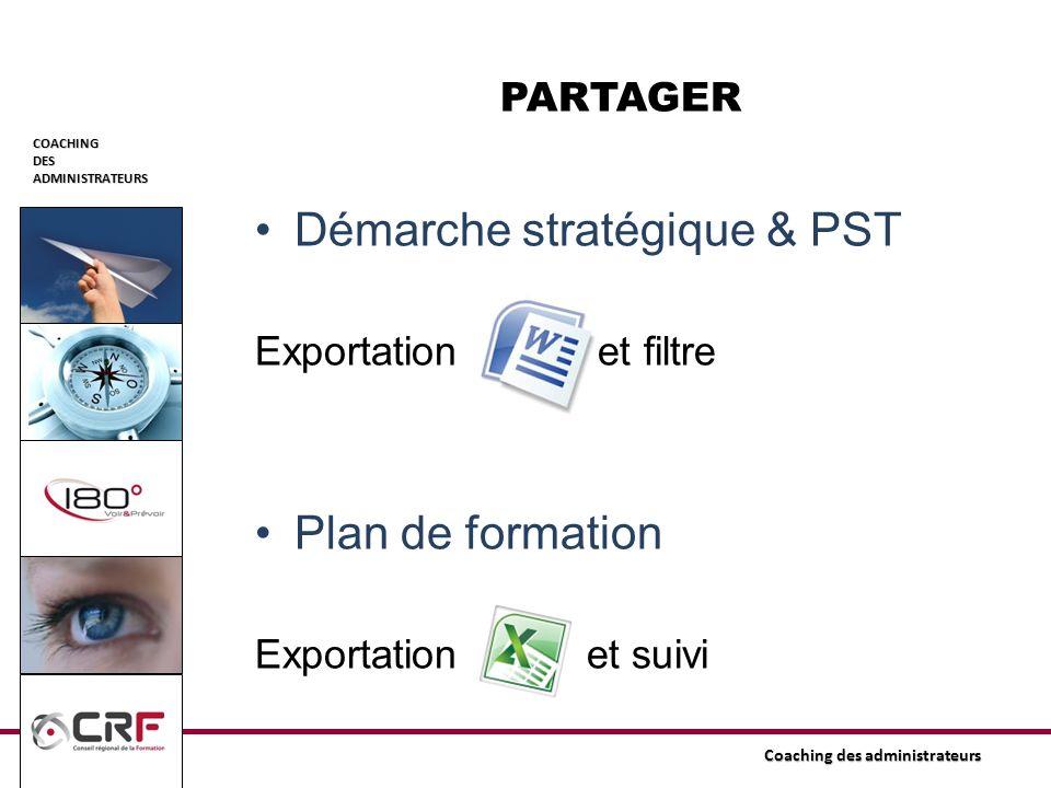 COACHINGDESADMINISTRATEURS Coaching des administrateurs Démarche stratégique & PST Exportation et filtre Plan de formation Exportation et suivi PARTAG