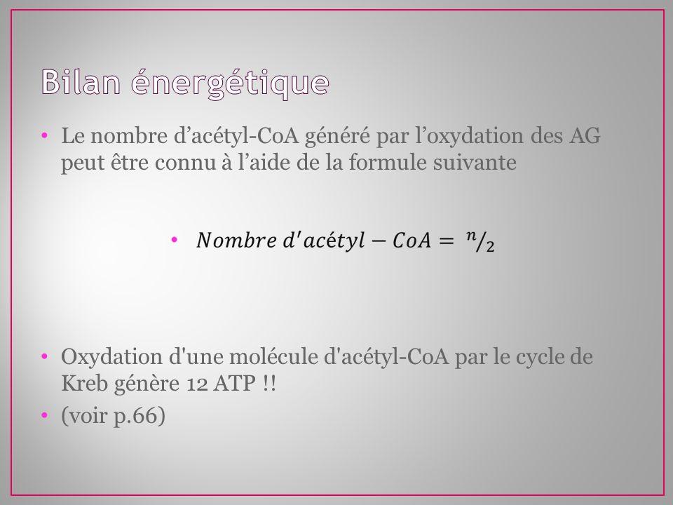 Le nombre dacétyl-CoA généré par loxydation des AG peut être connu à laide de la formule suivante Oxydation d'une molécule d'acétyl-CoA par le cycle d
