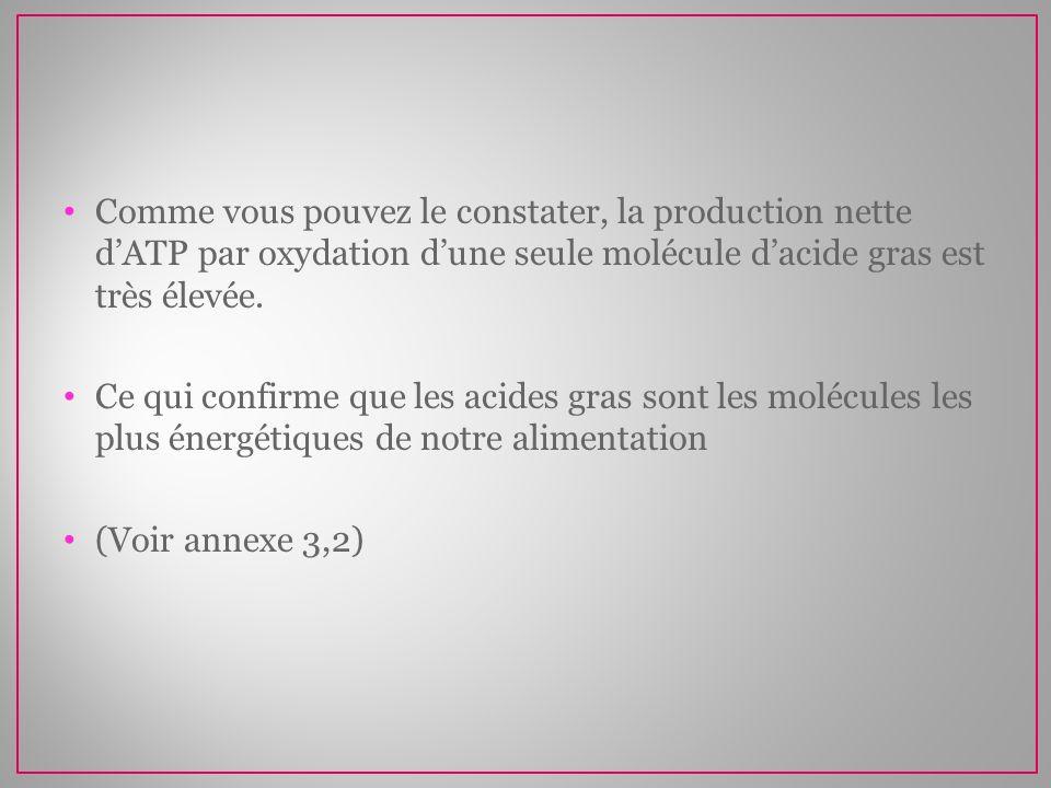 Comme vous pouvez le constater, la production nette dATP par oxydation dune seule molécule dacide gras est très élevée. Ce qui confirme que les acides