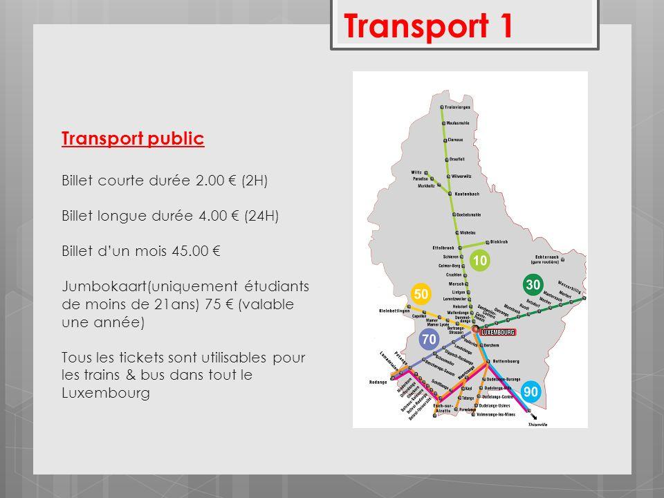 Transport Privé Prix du carburant (au 1/1/2014) Diesel:1,213 Super 95: 1,303 Super 98: 1,338 LPG: 0,644 Taxis (prix au 1/10/2013) Tarif 1 = Aller – Retour au point de départ 1,55 /km Tarif 2 = Aller simple 3,10 /km 0,60 Euro la minute dattente 2,60 Euro la prise en charge 10% Taxe de Nuit 25% Taxe de Dimanche Transport 2