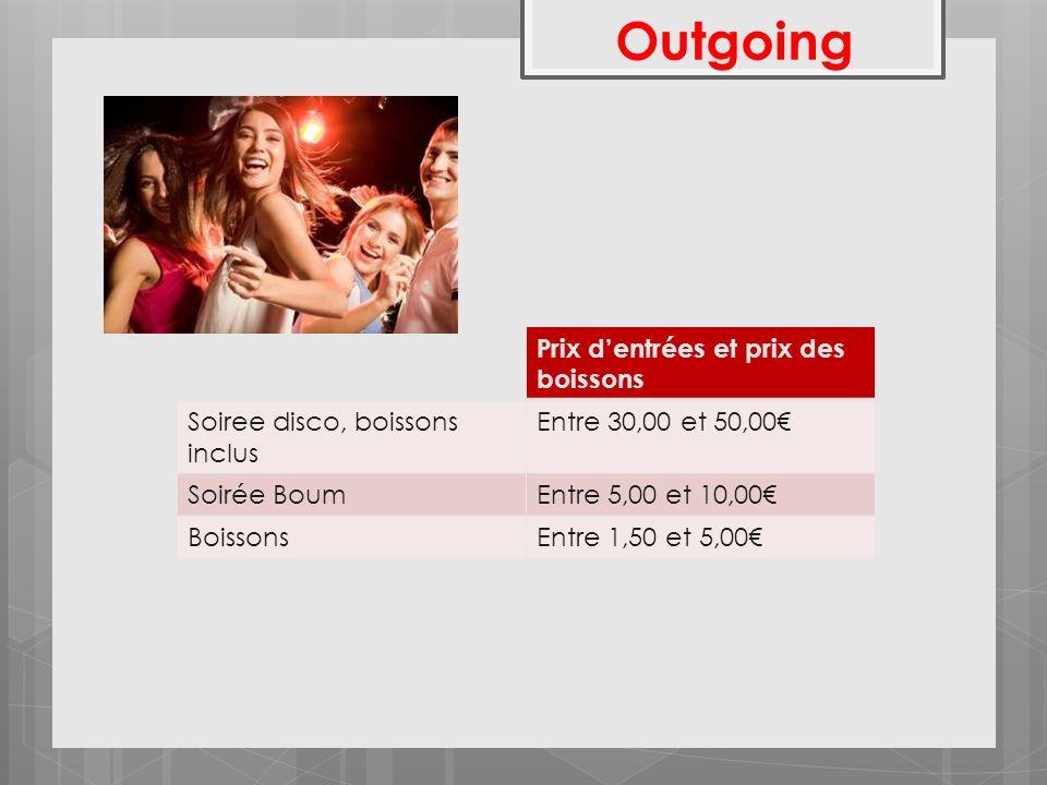 Outgoing Prix dentrées et prix des boissons Soiree disco, boissons inclus Entre 30,00 et 50,00 Soirée BoumEntre 5,00 et 10,00 BoissonsEntre 1,50 et 5,