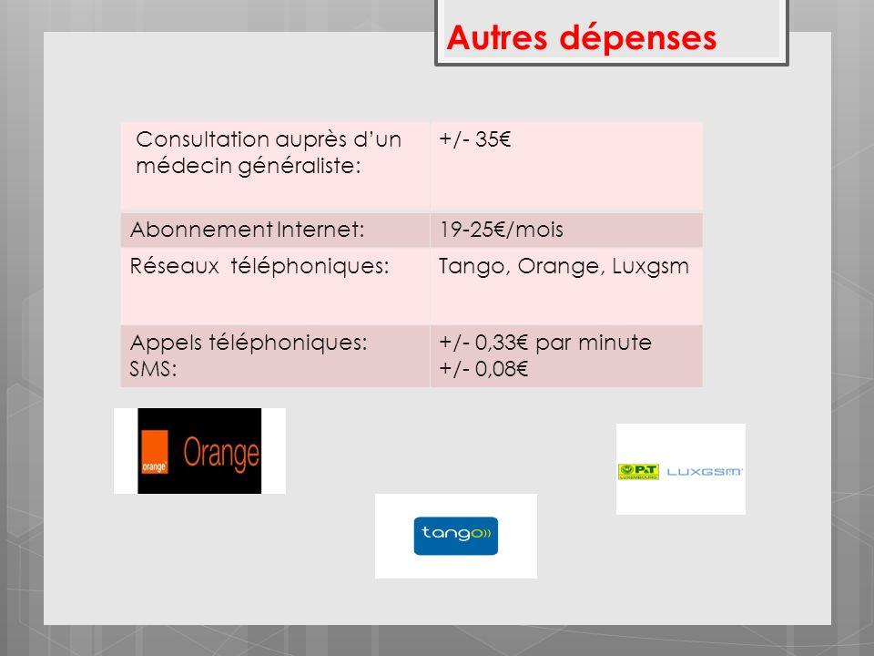 Autres dépenses Consultation auprès dun médecin généraliste: +/- 35 Abonnement Internet:19-25/mois Réseaux téléphoniques:Tango, Orange, Luxgsm Appels