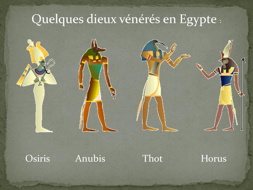 Quelques dieux vénérés en Egypte : OsirisAnubisThotHorus