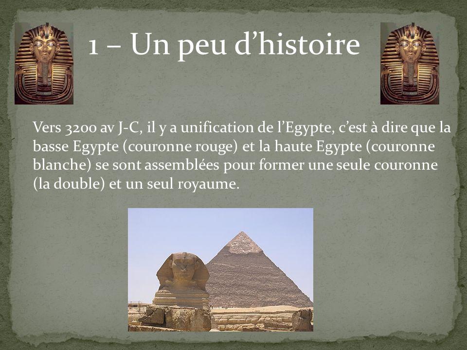 1 – Un peu dhistoire Vers 3200 av J-C, il y a unification de lEgypte, cest à dire que la basse Egypte (couronne rouge) et la haute Egypte (couronne bl