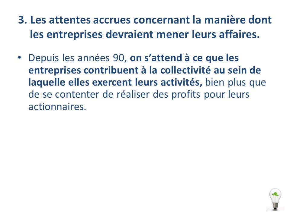 3. Les attentes accrues concernant la manière dont les entreprises devraient mener leurs affaires.