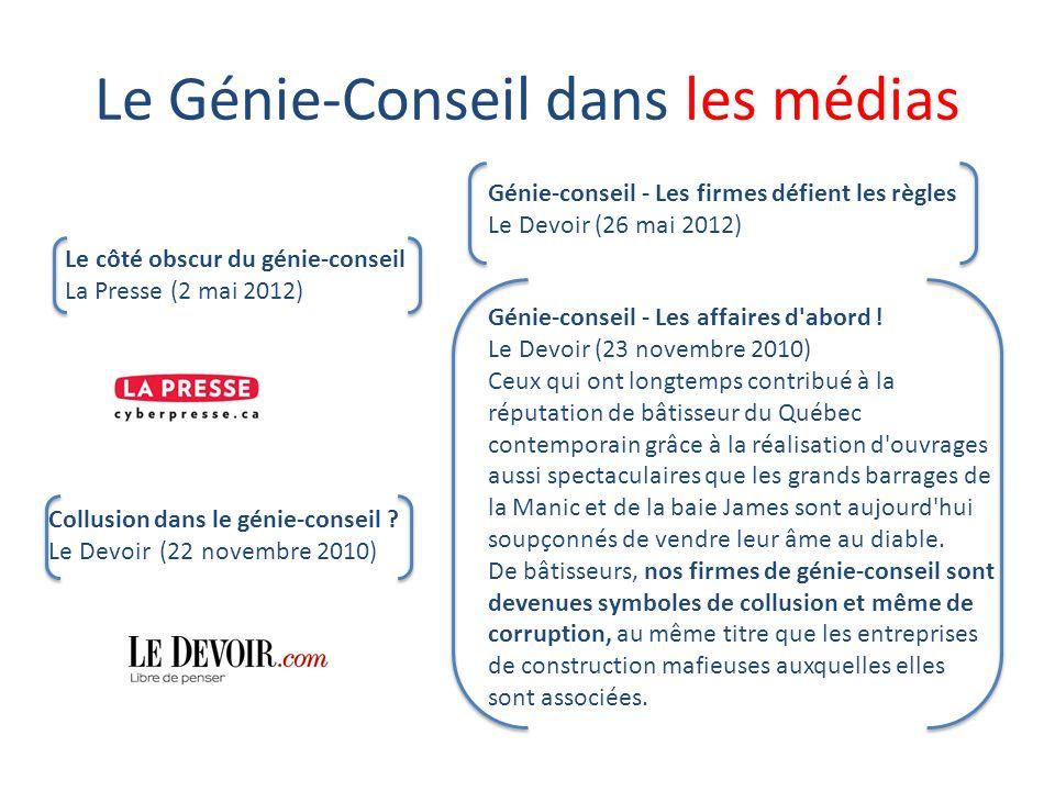 Le Génie-Conseil dans les médias Collusion dans le génie-conseil .
