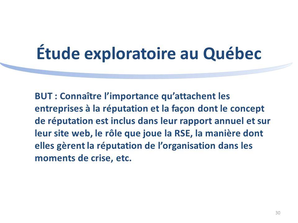 30 Étude exploratoire au Québec BUT : Connaître limportance quattachent les entreprises à la réputation et la façon dont le concept de réputation est inclus dans leur rapport annuel et sur leur site web, le rôle que joue la RSE, la manière dont elles gèrent la réputation de lorganisation dans les moments de crise, etc.