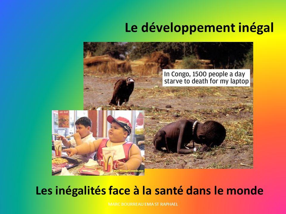 MARC BOURREAU EMA ST RAPHAEL Le développement inégal Les inégalités face à la santé dans le monde