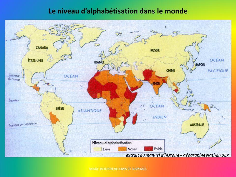 Le niveau dalphabétisation dans le monde extrait du manuel dhistoire – géographie Nathan BEP