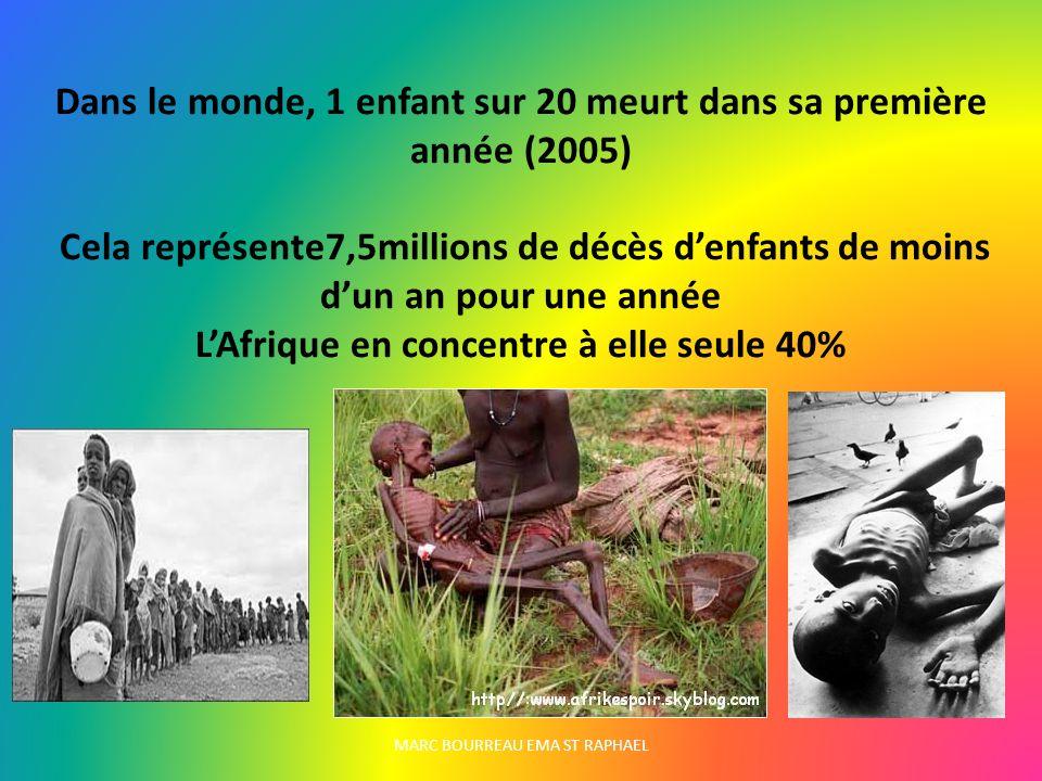 MARC BOURREAU EMA ST RAPHAEL Dans le monde, 1 enfant sur 20 meurt dans sa première année (2005) Cela représente7,5millions de décès denfants de moins dun an pour une année LAfrique en concentre à elle seule 40%