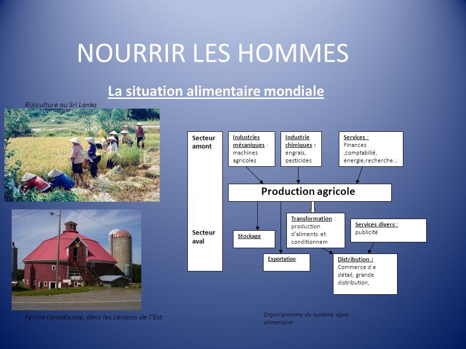 NOURRIR LES HOMMES La situation alimentaire mondiale Production agricole Industries mécaniques : machines agricoles Industrie chimiques : engrais, pes